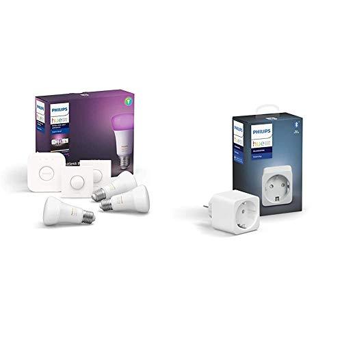 Philips Hue Kit de Démarrage 3 Ampoules LED Connectées White & Color Ambiance E27 + Prise Connectée Smart Plug compatible Bluetooth, fonctionne avec Alexa