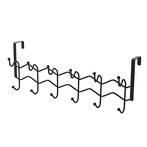 SXYB Rack de Almacenamiento de diseño de Gancho, Gancho de Espalda de la Puerta de Doble Fila, sin Punch, no daña la Puerta, Hierro Forjado, Duradero y Estable, Capacidad de Apoyo Fuerte
