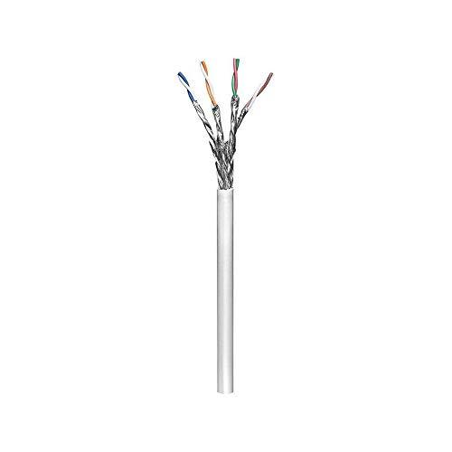 Goobay 93955 CAT 6 Netzwerkkabel, S/FTP (PiMF), Grau, CCA Kupfergemisch für SOHO Anwendungen, AWG 23/1 (solid), PVC