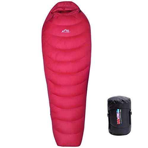 LMR outdoors Ultralight Mummy, sacco a pelo per campeggio con sacca compressione (Rosso)