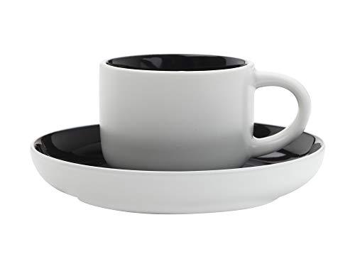 Maxwell Williams Tint Espressotasse und Untertasse in Geschenkbox, Porzellan, 100 ml, Schwarz, Espresso Size