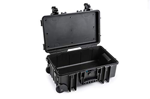B&W Outdoor Case Hartschalenkoffer Typ 6600 leer (Hardcase Koffer IP67, ohne Inhalt, wasserdicht, Innenmaß 50x28,5x18,5cm, Schwarz)