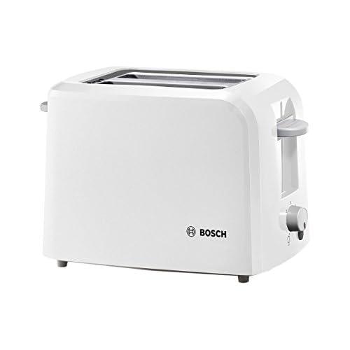 Bosch Elettrodomestici TAT3A011 Tostapane Compatto, 980 W, plastica, 2 Scomparti, Bianco