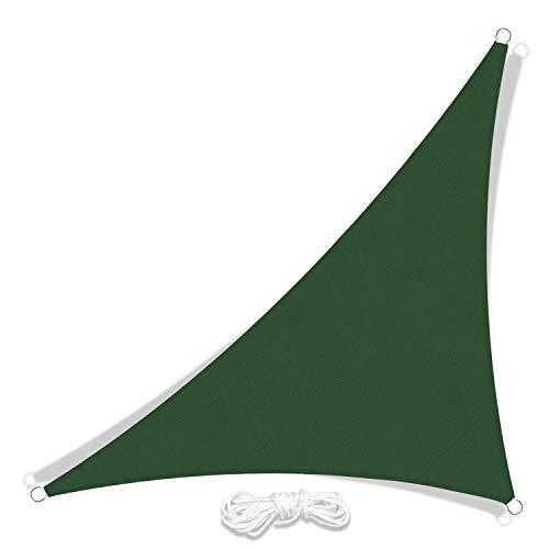 JYYnet Toldo Vela de Sombra, Triángulo Toldo Vela de Sombra Prevención Rayos UV Poliéster Toldo para Terraza Exterior Jardín(3 × 3 × 4,3 m, verde oscuro)