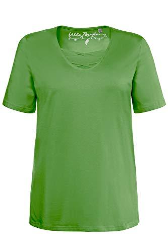 Ulla Popken Damen große Größen bis 62+   V-Shirt mit Bändern   gerundeter V-Ausschnitt   Halbarm   hellgrün...