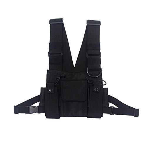 Longzhuo Schultertaschen, Tasche mit Vorfach, Hip Hop Streetwear, für Damen und Herren, funktionale Taillen-Packs, verstellbare Taschen, Weste
