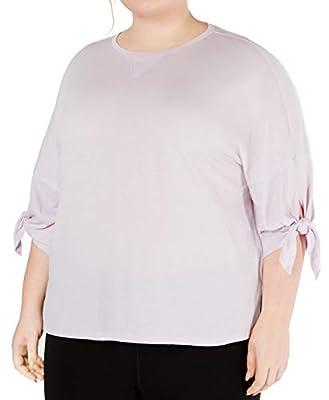 Calvin Klein Performance Womens Plus Hi-Low Drop Shoulder T-Shirt Purple 3X