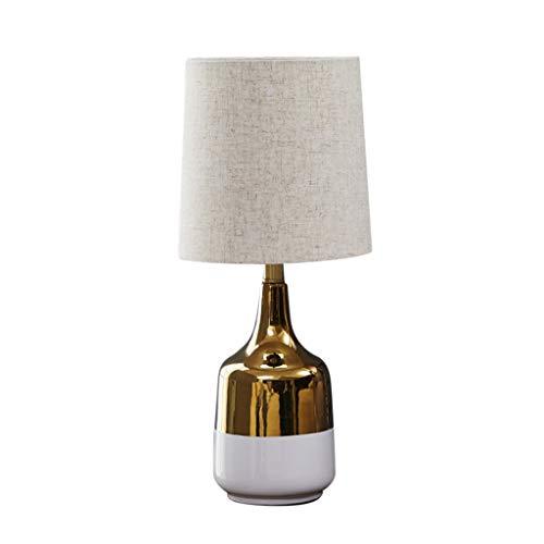 Bedlampje QFF bedlampje, gouden witte splice glad keramiek tafellamp soft light 2 schaduwen spaarlamp geschikt voor bank, bijzettafel warm