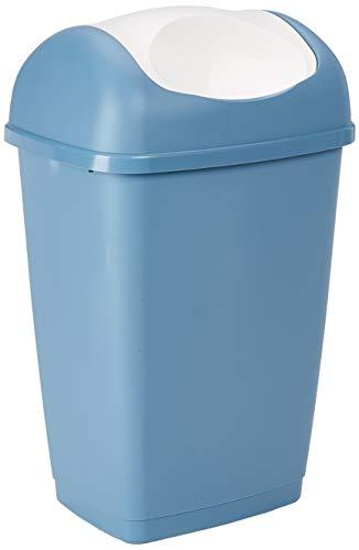 axentia Schwingdeckeleimer, Abfalleimer aus Kunststoff für Küche & Bad, Mülleimer mit Schwingdeckel, Fassungsvermögen: ca. 25 Liter, Blau (Blau 235681)