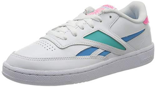 Reebok Damen Club C Revenge Mark Gymnastics Shoe, White/Solid Teal/Bright Cyan39 EU