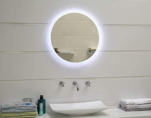 Dimmbar LED-beleuchteter Badezimmerspiegel rund 60cm Wandspiegel Lichtspiegel mit Touch-Schalter superhell Lichtfarbe Warmweiß + Neutralweiß + Kaltweiß