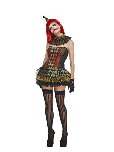Fever 43987 - Disfraz de Payaso Zombi, Vestido de tutú, Sombrero y Cuello, Halloween, Talla L, para Mujer