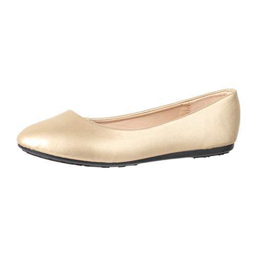 Elara Damen Ballerina Bequeme Slip Ons Flach Chunkyrayan DY 10A Gold 37