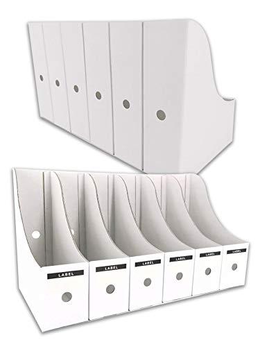 HUAPRINT Magazine File Holder(12 Pack,White)-Folder Holder,Desk File Organizer,Document Holder Box,Magazine Storage Box,With Labels