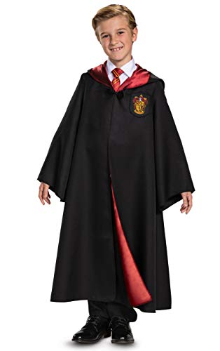 Disguise Harry Potter Gryffindor Robe Deluxe Children's Costume Accessory, Black & Red, Kids Size Medium (7-8)