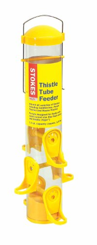 Stokes Select Thistle Tube Bird Feeder with Six Feeding Ports, Yellow, 1.6 lb Capacity - 38224, small