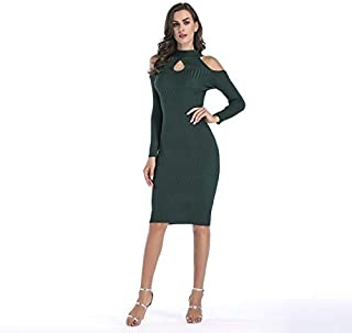 ZCLAU Strapless Knit Dress Slim Package Hip Skirt Dress (Color : Green, Size : XL)