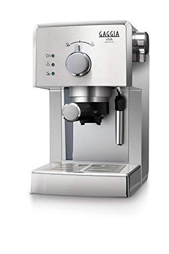 Gaggia RI8437/11 Viva Prestige Macchina da Caffè Espresso Manuale, per Macinato e Cialde, 1025W, Acciaio Inox