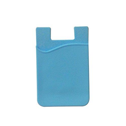 XuBa Mode Simple Carte adhésif à Base de Silicone étui Argent de Poche pour téléphone Portable Bleu Ciel