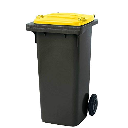BRB 120 liter MGB vuilnisbak, grijs met gele deksel