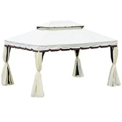 ✅CURTAINED GAZEBO: Gazebo with curtains and mosquito mesh keep the bug out and comfort in with privacy, ideal for patio, backyard, garden or other outdoor space ✅STRONG CONSTRUCTION: Rust resistant and powder coated aluminum alloy frame covered with ...