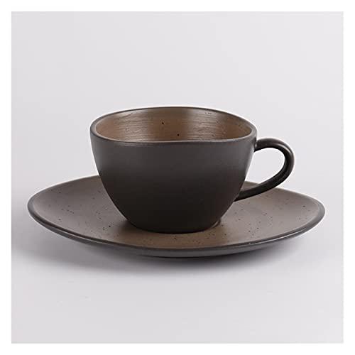 Chengcheng AIYISITELU Taza de café de cerámica Negra con platillos Tazas de café Tazas KAFEIFEI (Color : Black)
