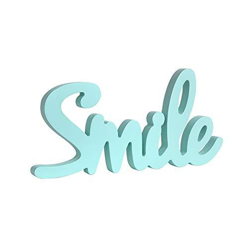 ZAKRLYB La letra de la decoración Smile Wood se puede utilizar como un regalo de cumpleaños del día infantil Adecuado para la habitación de los niños Dormitorio Sala de estar TV de la sala de