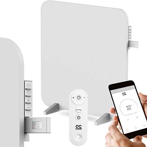 CRONOS APP - Panel calefactor por infrarrojos (450 W, titanio, con termostato 3 en 1, mando a distancia y módulo WiFi, protección contra sobrecalentamiento, fabricante alemán, sello GS de Intertek