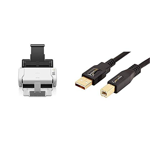 Brother ads-2200Dokumenten-Scanner Desktop mit Duplex, Weiß & AmazonBasics USB 2.0-Druckerkabel A-Stecker auf B-Stecker, 3 m