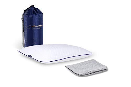 Alkamto Almohada ortopédica de espuma viscoelástica ergonómica, almohada cervical viscoelástica, almohada cervical para dormir de lado y boca abajo, funda de algodón adicional
