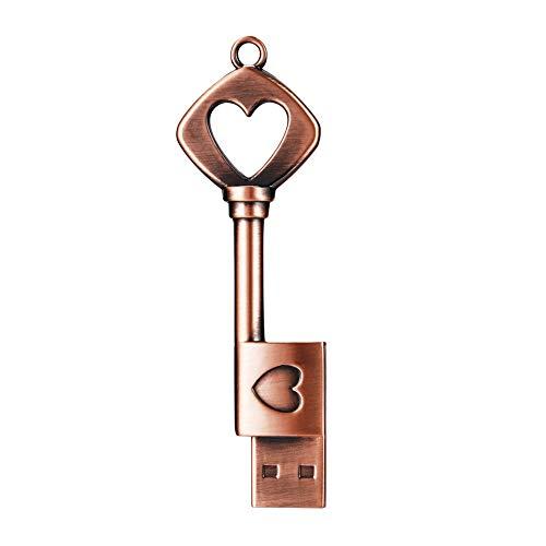 GARRULAX USB Flash Drive, 8GB / 16GB / 32GB / 64GB USB 2.0 Metal USB Memory Stick Date Storage Pendrive Thumb Drives (16GB, Heart Key)