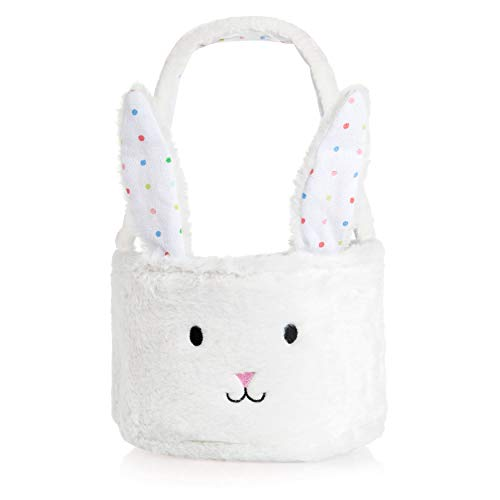 Homarden Easter Eggs Basket - Cute Fluffy Bunny Baskets with Foldable Ears - Perfect for Girls & Boys Easter Egg Hunts - Easter Baskets for Kids