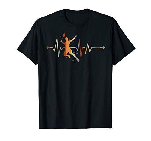 Herzschlag EKG Badminton T-Shirt - Geschenk Sport Federball