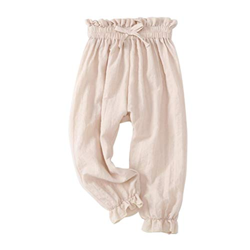 Noubeau Baby Anti-Mosquito Pants Infant Baby Girls Boy Summer Casual Harem Pants (Beige, 5T)