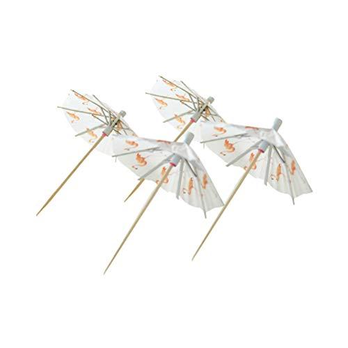 Amosfun Umbrella Picks Flamingo Paper Sticks Cake Cocktail Parasols Paperboard Favors Crafts Party Decorations 20pcs
