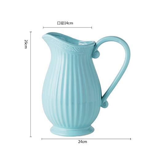 Antieke Melk Pot Vaas reliëf Keramische Shabby Chic Cream Vaas Keramische Bloempot Bruiloft Thuis Decor, 26 cm Hoog (Kleur : Wit) geschenk
