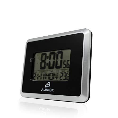 Orologio digitale LCD radiocontrollato, con cambio automatico dell'ora, ora legale e invernale, sveglia, funzione snooze, data con giorno della settimana in 7 lingue, visualizzazione della temperatura