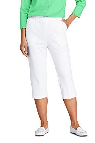 Lands' End Women s Sport Knit Capri Pants White Regular Medium