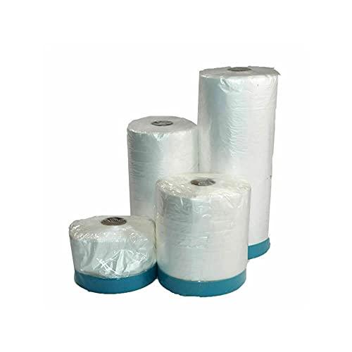 Abdeckfolie mit Gewebeklebeband   UV stabil   Abklebeband Folienklebeband Gewebe Masker Gewebeband Klebeband Abdeckband Malerfolie (1, 20m x 550 mm)