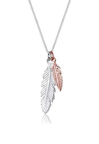 Elli Halskette Damen Feder Anhänger Boho Look Trend Bi-Color in 925 Sterling Silber
