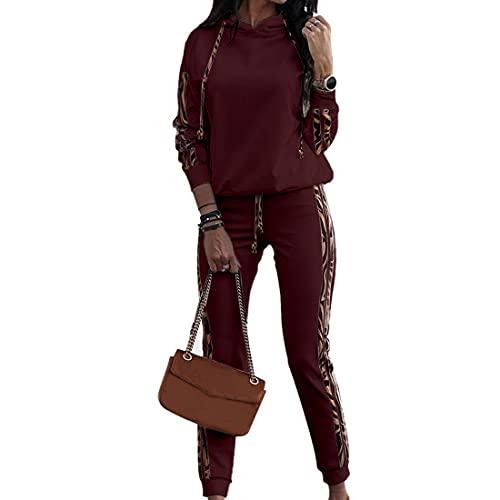 OEAK Damen Sportanzug Trainingsanzug Jogginganzug Mode 2-teiliges Set Hoodie Langarm Sweatshirt + Lange Hose Freizeitanzug Bekleidungssets,Weinrot,L