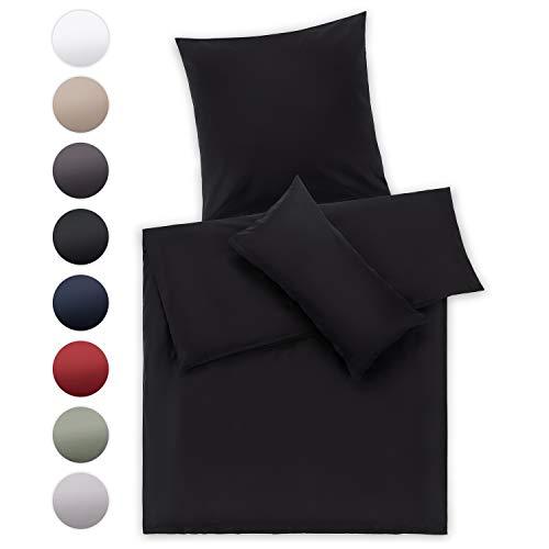 Blumtal Mako Satin Bettwäsche 155x220 cm mit Kissenbezug 80x80 cm - 100% Baumwolle, Superweiches Bettbezug Set, Black