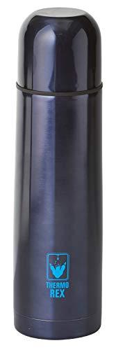 Thermo Rex Isolierflasche 750 ml Edelstahl | Thermokanne mit Becher Dunkelblau | Druckknopf-System | Ideal für unterwegs- Travel Mug | Thermoflasche BPA frei