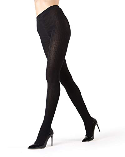 MeMoi Boston Ribbed Sweater Tights | Womens Winter Hosiery - Pantyhose Black MO 327 Queen1/Queen2