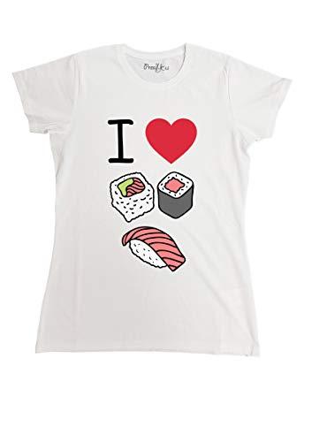 T-Shirt Maglietta Sushi Manga I Love Sushi, XS-Donna Donna