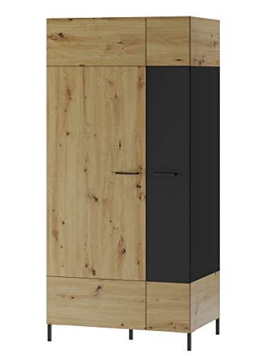 Furniture24 Kleiderschrank Lucas 70, 2 Türiger Drehtürenschrank, Schrank mit Kleiderstange und 2 Einlegeboden, Wohnzimmerschrank, Artisan Eiche/Schwarz