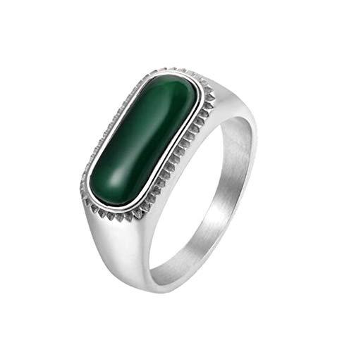 PAURO Men's Stainless Steel Emerald Rectangle CZ Signate Ring for Magazine Biker Silver Wedding Band Minimalist Size W