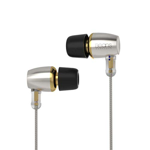 HiBy Beans Hi-Res in-Ear Earphones Single-Dynamic Driver Wired in-Ear Earbuds Headphones IEMs with 0.78mm 2-pin Detachable Cable 3.5mm Plug for Smartphones/PC/Tablet/Audio Players(Without Mic, Silver)