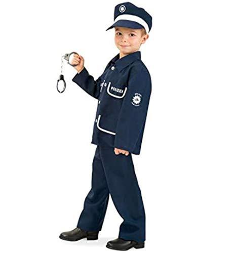 KarnevalsTeufel Kinderkostüm Polizist Petersen 2-TLG. mit Mütze Polizei-Uniform dunkelblau, Fasching, Karneval, Mottoparty (152)