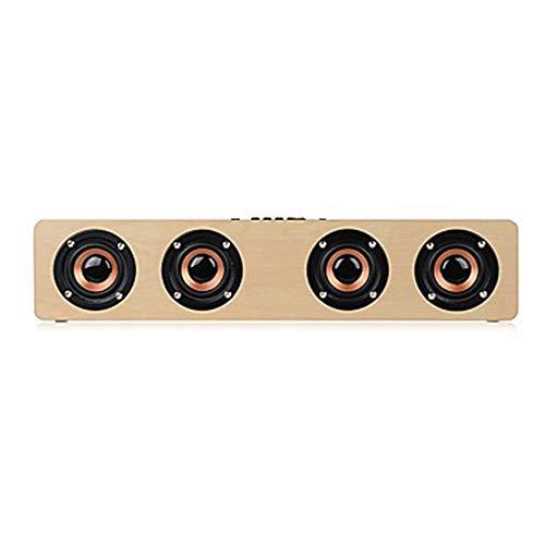 Kaper Go tragbarer Lautsprecher 12W High Power 4 Lautsprecher Subwoofer Stereo Bluetooth Audio Subwoofer Office Home Light Lautsprecher (Color : Brown)